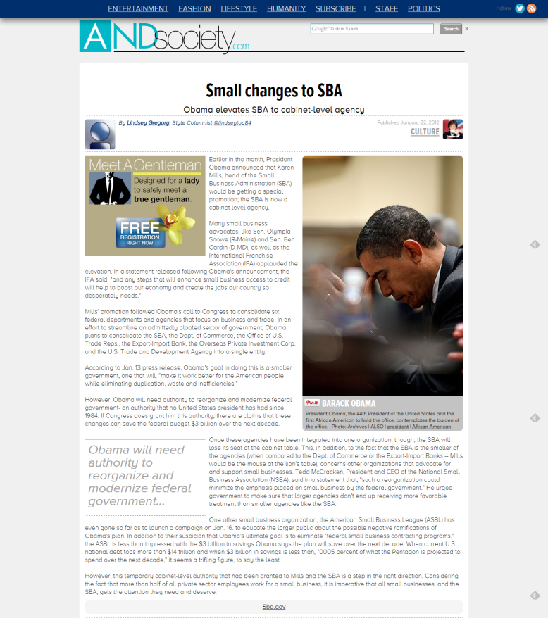 """Small Changes to SBA,"" AND Magazine"